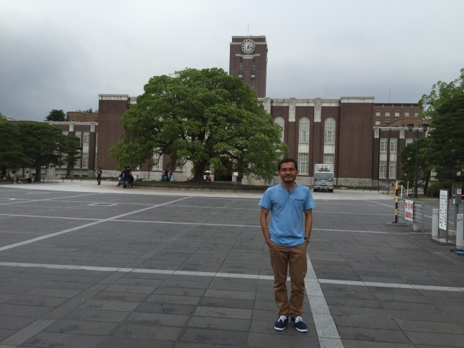 In the front of clock tower of Kyoto University, July 2015